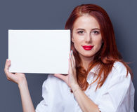 Businesswomen in white shirt with board Stock Images