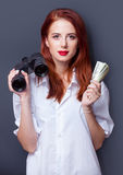 Businesswomen in white shirt with money Royalty Free Stock Images