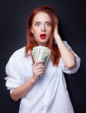 Businesswomen in white shirt with money Royalty Free Stock Photos