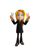 Businesswomen with win pose Stock Image