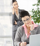 Businesswomen working in office. Young businesswoman working at desk in modern office, another talking on mobile phone in background Stock Photos