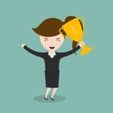 Businesswomman que sostiene los trofeos stock de ilustración