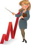 Businesswuman mit Rot herauf Diagramm vektor abbildung