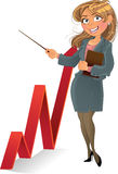Businesswuman with red up diagram Stock Images
