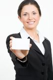Busineswoman with card Stock Photography