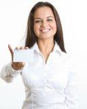 Busineswoman com cartão Foto de Stock