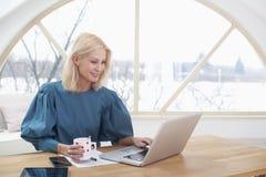 Busineswoman esecutivo che lavora al computer portatile immagine stock libera da diritti