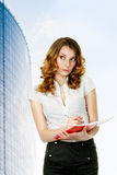Busineswoman and notepad Stock Image