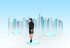 Busineswoman think. On light background Stock Photography