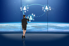 Busineswoman touching digital screen Royalty Free Stock Photography