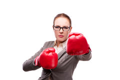 The businewoman with boxing gloves  on white Stock Photography