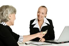 Businnes-Gespräch im Büro Lizenzfreie Stockfotos
