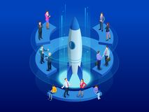 Businnes isometrico comincia su per la pagina Web, l'insegna, la presentazione, concetto sociale di media Reddito e successo Vett illustrazione vettoriale