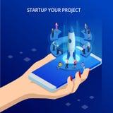 Businnes online isometrico comincia su per la pagina Web, l'insegna, la presentazione, concetto sociale di media Reddito e succes illustrazione di stock