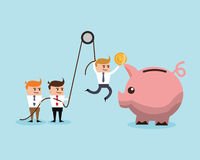 Businnesman cartoon and financial item. Businessman cartoon piggy and coin icon. Profit business and financial theme. Colorful design. Vector illustration Royalty Free Stock Image