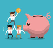 Businnessman cartoon and financial item. Businessman cartoon piggy and coin icon. Profit business and financial theme. Colorful design. Vector illustration Stock Image