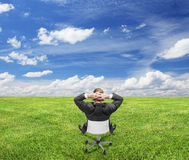 Businnessman sitting on nature Royalty Free Stock Photography