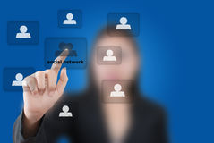 Busiusiness Woman Pushing Social Network. Stock Photography