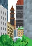 Buskar för högväxta byggnader för tecknad film near gröna Arkivfoton