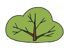 Buske för vektorteckningsgräsplan Enkla barns illustration Gullig buske med filialer royaltyfri illustrationer