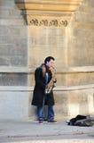 Busker in Cambridge stock afbeelding