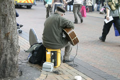 Busker with Electric Guitar. On Liverpool City Centre Street stock images