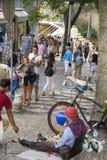 Busker in Lisbon Stock Images