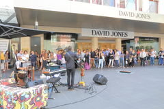 Busker city life Melbourne. People busking in front of David Jones Burke Street Stock Photos