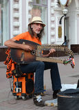 Busker on Old  Arbat Royalty Free Stock Image
