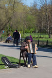 Busker in the park Stock Image