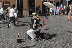 Busker in Piazza Navona Stock Photo