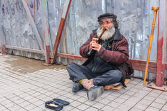 Busker playing flute Stock Images
