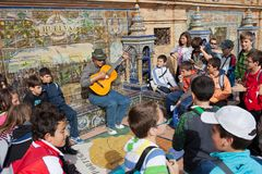 Busker Plaza de Espana στοκ εικόνα με δικαίωμα ελεύθερης χρήσης