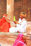 Busker rajasthan india. Street musicians performing for the public india Royalty Free Stock Images