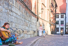 Busker. Riga Royalty Free Stock Photo