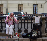 The busker. Stock Images