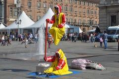 Busker in Turijn stock afbeeldingen