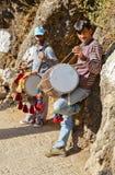 Buskers die Shiva Kodi Himalayagebergte busking Stock Foto