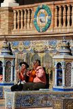 Buskers in the Plaza de Espana. stock images