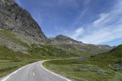 Buskerud Mountain Road. Not far from Lake Strandavatn (Norwegian: Strandavatnet) you'll find this area where there is snow and ice on the mountain tops even in Stock Photography