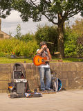 Busking musician. As the Colne Jazz and Blues festiva, Colne, Lancashire, UK royalty free stock image