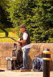 Busking musician. As the Colne Jazz and Blues festiva, Colne, Lancashire, UK royalty free stock images