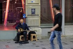 Busking at night in Istanbul. ISTANBUL, TURKEY - MAY 24 : Busking at night in Istanbul Turkey on May 24, 2018. Unidentified people royalty free stock photos