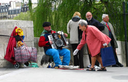Busking a Parigi Fotografia Stock Libera da Diritti