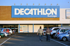 Decathlon sports store in Italy. Busnago, Italy: The main entrance of Decathlon store from Busnago, Italy Royalty Free Stock Photography