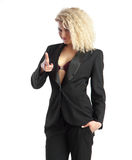 Busness lady with curly hair showing finger gun Stock Photography