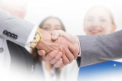 Busness people shaking hands stock image