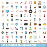 100 busness planning icons set, cartoon style. 100 busness planning icons set in cartoon style for any design vector illustration Stock Illustration