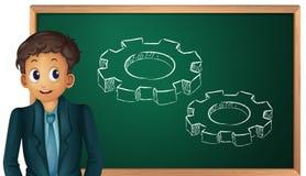 Busniessman cartoon. Businessman cartoon presenting on blackboard Stock Photo