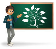 Busniessman cartoon. Businessman cartoon presenting on blackboard Stock Images